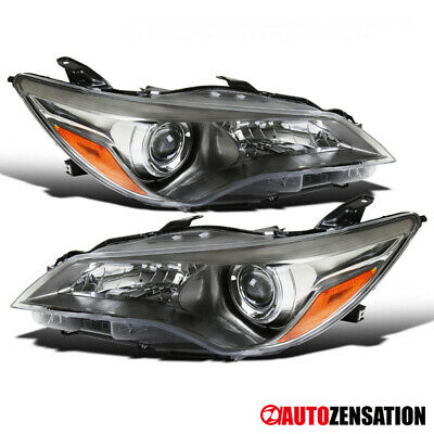 For 2015-2017 Toyota Camry Gunmetal Clear Projector Headlights Lamps Pair+Amber