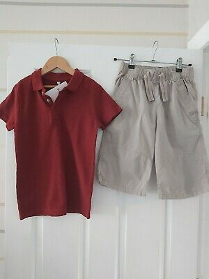 Marks And Spencers Fantastic Boys Rwd Top And Next Beige Shorts Age 7-8 Years