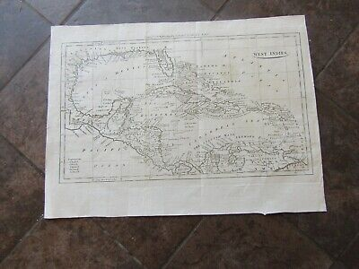 1798 Map of the West Indies, Central America, Cuba, Puerto Rico, Jamaica