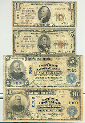 $5 and $10 Series 1902 Blue Seal (Dated Back) and 1929 Type 1 National Banknotes