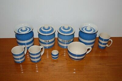 Collection of Cornishware TG Green items jars/cups etc.