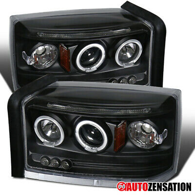 For 2005-2007 Dodge Dakota Black LED DRL Halo Rims Projector Headlights