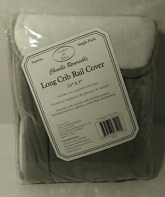 Reversible Crib Rail Cover Heavenly Soft Chenille  Gray And White