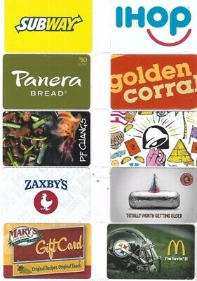 10 Different Food Gift Cards   T5-25