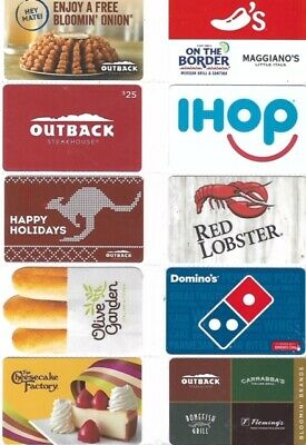 10 Different Food Gift Cards   T5-27