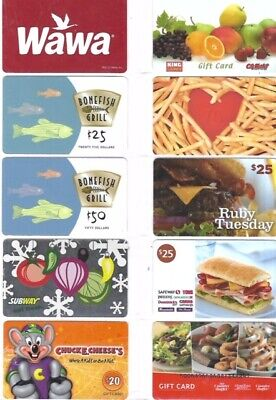 10 Different Food Gift Cards   T5-29