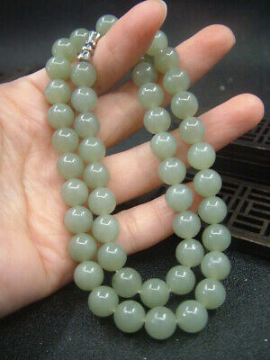 Antique Chinese Nephrite Celadon-HETIAN jade 8mm Beads Necklace-Jade Pendant