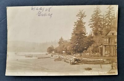 1908 antique PHOTO seattle wa 336 OAKES HOUSE looking west from Charleston RPPC