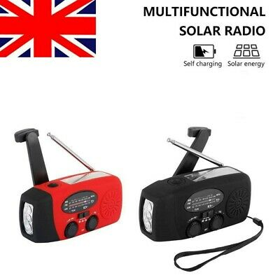Black / Red Solar Power Radio Portable Wind Up USB LED Light AM FM Rechargeable