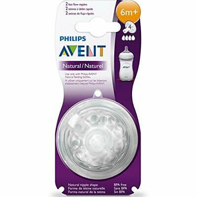 Philips Avent SCF044 / 27-2 - Natural teats fast flow 6 Months+ transparent