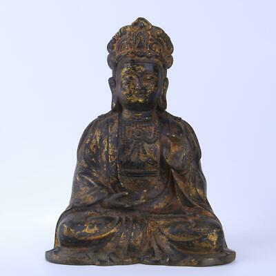 Chinese Antique Ming Dynasty Gilt Bronze Seated Guanyin Statue