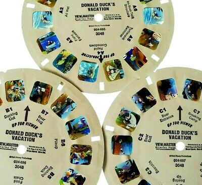3x VIEW MASTER REEL ⭐ DONALD DUCK´S VACATION ⭐ Walt DISNEY 3D BILD-SCHEIBEN 3048