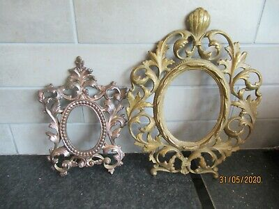 Two Antique Ornate Cast Iron Photo Frames