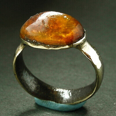 Stunning genuine ancient Viking Æ ring with amber setting - wearable