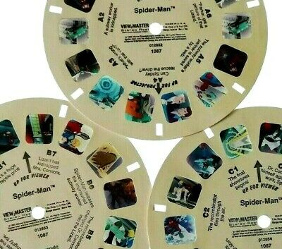 3x VIEW MASTER REEL ⭐ SPIDER-MAN ⭐ MARVEL COMICS / CARTOON / BILD-SCHEIBEN 1087