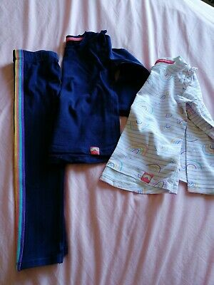 Pre-Owned Nutmeg Girls Three Piece Rainbow Themed Trouser Set 3-4 Years