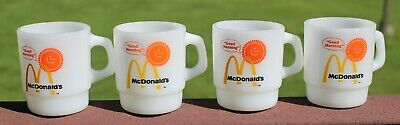 """Vintage Lot 4 Fire King McDonald's """"Good Morning"""" Stackable Coffee Mugs"""