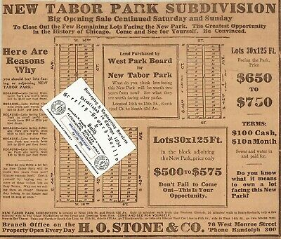 Chicago Antique 1909 Advertisement Map Of Part Of North Lawndale Neighborhood