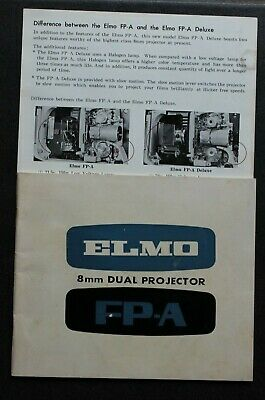 ELMO 8 mm Kino Dual Projector Model FP-A Instruction Manual Bedienungsanleitung