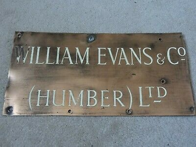 Vintage Brass & Enamelled William Evans & Co (Humber) Ltd Company Display Sign