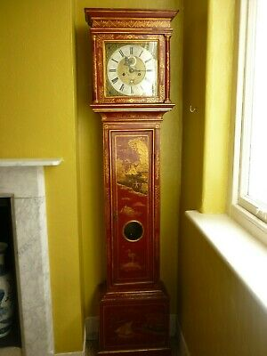 Jonas Barber Ratclif Cross London red Chinoiserie Longcase 8 day clock cira.1690
