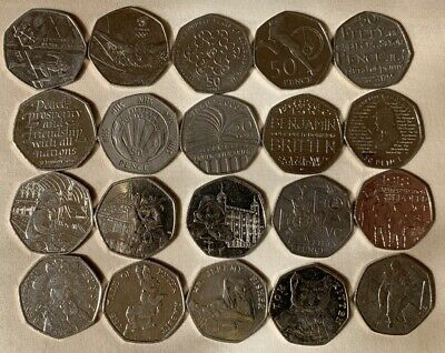RARE 50P COINS Job Lot - 20 Collectible Coins - Circulated Coins All Different