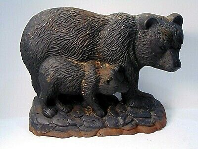 rare ANTIQUE vintage MAMA BEAR & CUB cast iron DOOR STOP metalware ART $19.95 nr