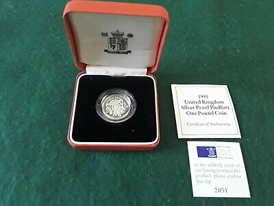 Uk  1993 1 Pound Silver Proof Piedfort Coin In Royal Mint Case