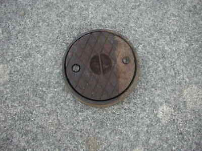 """Vintage Cast Iron Circular 5"""" Drain Cover  In Frame With Screws"""