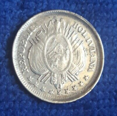 Bolivia 20 Centavos 1890 C.b Km 159.2  Xf+ 130 Years Old Silver Coin