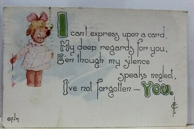 Greetings My Deep Regards Not Forgotten Postcard Old Vintage Card View Standard