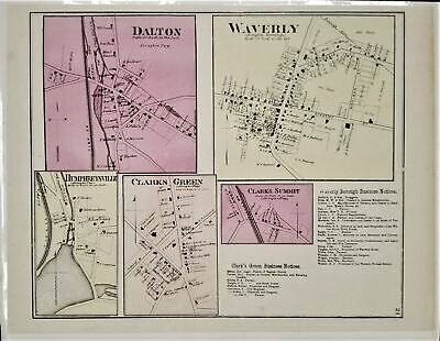 1873 antique DALTON WAVERLY +PA MAP from atlas luzerne co beers pomroy