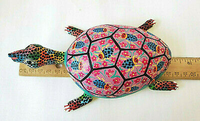 Maria Jimenez Ojeda (Mexican Folk Art) Hand-Carved/Painted Wood Turtle (Signed)