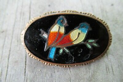 Vintage Two Birds on Branch Black Enamel Guilloche Oval Pin Love Pair of Antique