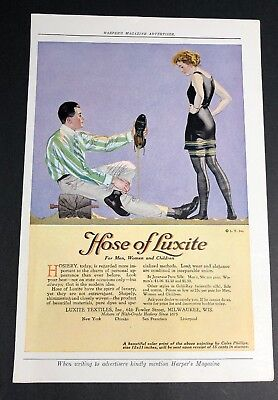 Luxite Hosiery Orig Ad C 1920 pretty Flapper Girl Coles Phillips
