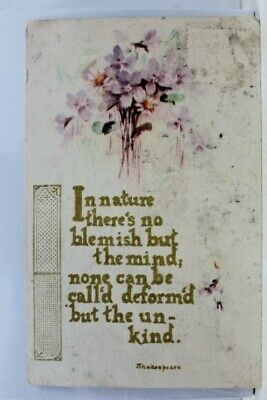 Greetings Shakespeare Nature Blemish Mind None Postcard Old Vintage Card View PC