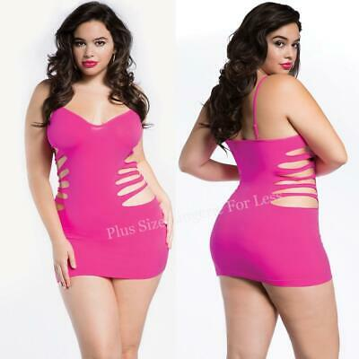 Plus Size Lingerie Sexy One Size Queen Pink Strappy Cage Dress Chemise R154X