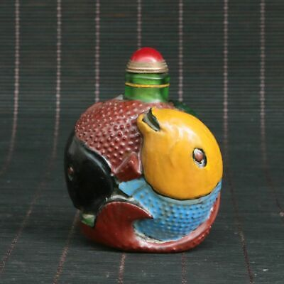 Chinese Exquisite Handmade Fish Old Beijing Glaze Snuff bottle