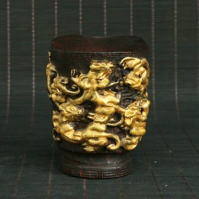 Chinese Exquisite Handmade Carved Mythical Animals Gild Horn cup
