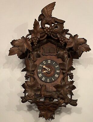 Early 1900s XXL Fox & The Grapes American Cuckoo Clock Philadelphia Black Forest