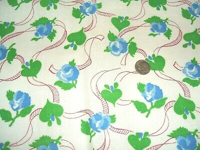 "Vintage Feedsack Cotton Fabric Blue Rose Flower Print 38"" x 42"""