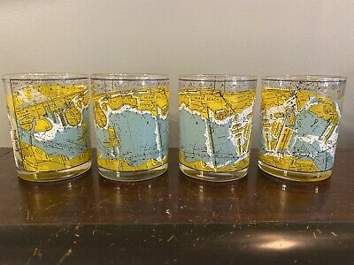Vtg Set 4 Miami Beach Map Double Old Fashioned Cocktail Glasses Neiman Marcus