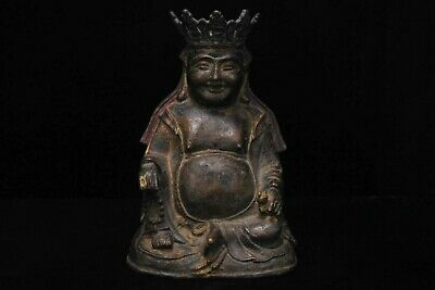 A Rare Chinese Antique Ming Dynasty Gilt Bronze Seated Buddha Statue