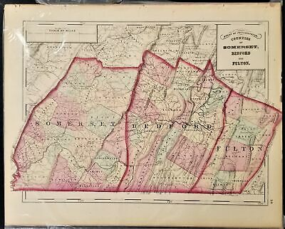 1876 antique SOMERSET BEDFORD FULTON MAP from Atlas of Pennsylvania