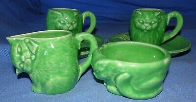 Cat tea set china miniature green two cups and saucers quirky
