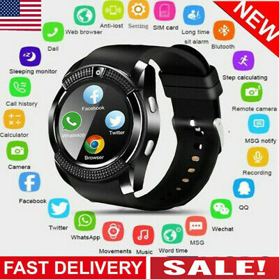 Waterproof V8 Smart Watch Bluetooth SIM Phone & Camera For Android Kids NEW