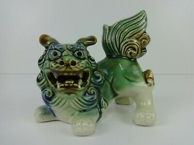 "Vintage Chinese Foo Dog Majolica Pottery Glaze Green 5"" Traditional Guardian"
