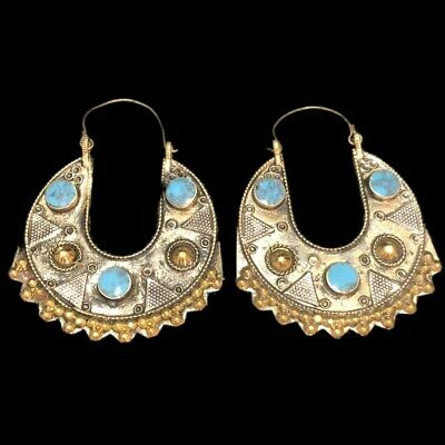VERY RARE ANCIENT SILVER EARRINGS WITH BLUE STONES 200-400 AD (Large Size) (2)
