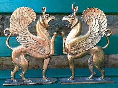 Pair Of Antique Arts & Crafts  Brass  griffin Fireplace Decorations