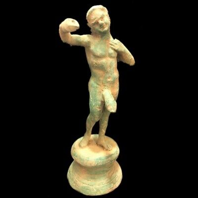 Rare Ancient Roman Bronze Period Statue Of A Male With Phallus - 200-400 Ad